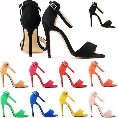 New Womens Girls High Heels Stilettos Open Toe Ankle Strap Wedges Sexy Sandals