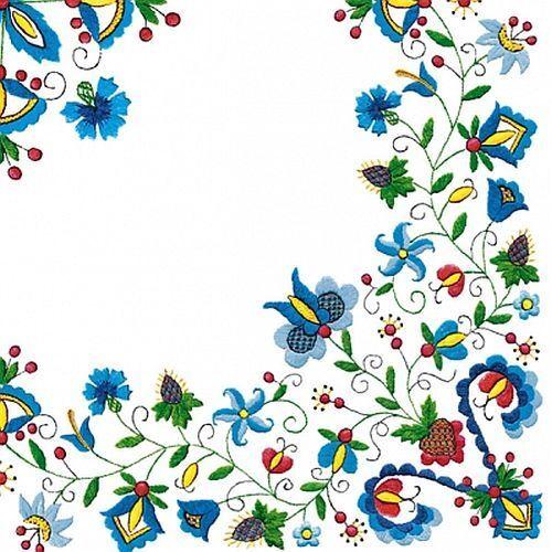 20 Napkins Flowers Trim Blue Lunch Napkins 33 x 33 cm Maki-POL-MAK