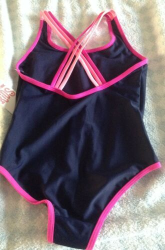 6-7 years NEW girls strappy school holiday swimsuit cossie navy pink 4-5