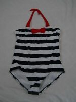 Lands End Swimsuit Deep Sea Blue And White Striped 1 Pc Girls Plus Size 10+