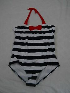 Lands End Swimsuit 10 Plus 10 One Piece Deep Sea Blue And White