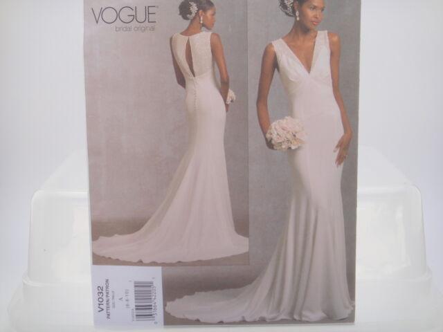 Vogue V1032 Bridal Original Floor Length Wedding Gown Train Dress ...