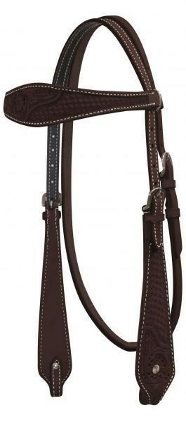Showman DARK OIL Basketweave & Floral Tooled silverina Cow Leather Headstall NEW