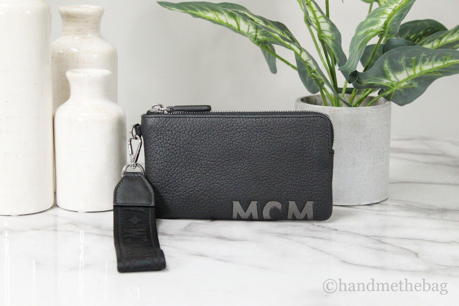 MCM Large Black Pebble Leather Zipped Multifunction Logo Wristlet Clutch Wallet