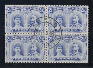 1910-Rhodesia-Royal-heads-SG-131-3-fu-block-4-P-14-13-Sep-1913-rare-multiple