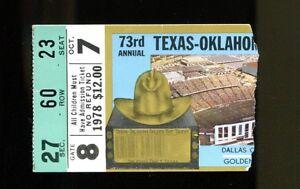 1978 Texas Longhorns vs Oklahoma Sooners Football Ticket ...