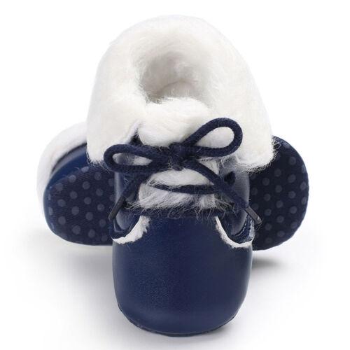 Newborn Toddler Girl Boy Soft Winter Warm Fur Crib Shoes Leather Prewalker Cozy
