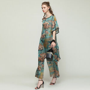 2PC-Plus-size-Womens-Casual-suits-loose-print-silk-Elegant-tops-and-pants