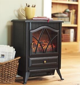Small Electric Fireplace Space Heater Portable Faux Wood Stove Indoor Ventless | Home & Garden