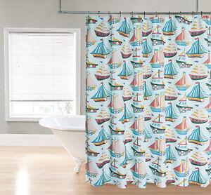 Aqua Blue Sailboat Nautical Ocean Green Coral Sailboats Fabric Shower Curtain Ebay