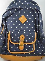 Pottery Barn Teen North Field Collection Heritage White Dots Backpack Navy