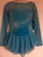 Figure Skating Competition Dress Child S 6 Ice Skate Blue Long Sleeve