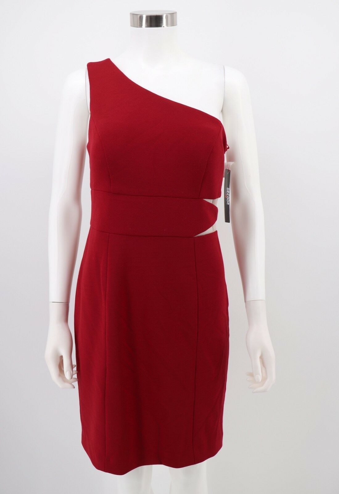Decode 1.8 Dress 10 NWT Womens Red Red Red Stretch One-Shoulder Bodycon Sheath 78edfb
