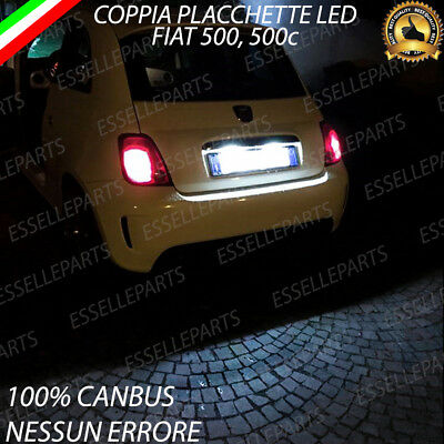 COPPIA LUCI TARGA 18 LED FIAT 500 500C CANBUS ABARTH 6000K NO