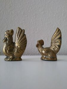 miniature brass chickens rooster hen set of 2 small figurines about 2 inch tall