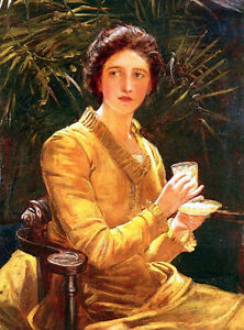 Hand-paint-Oil-painting-Walker-John-Hanson-Five-O-039-clock-Tea-elegance-lady-seated