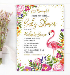 Tropical Flamingo Invitation Baby Shower Invite Hawaiian Summer