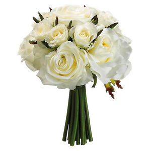 Image Is Loading Ivory Roses Bridal Hand Tied Bouquet Silk Wedding