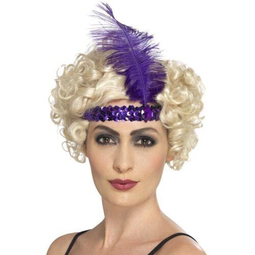Neuf Clapet violet orné de sequins Bandeau Avec Plume-Années 1920 Fancy Dress assessory