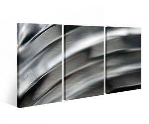 lienzo-3-piezas-Abstracto-Metal-Plata-Rayas-Moderno-Imagenes-Mural-9b398