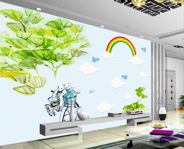 3D Cartoon Rainbow Robot Paper Wall Print Wall Decal Wall Deco Indoor Murals