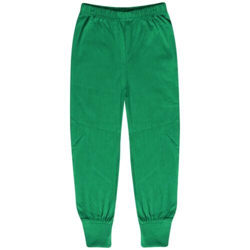 Kids Boys Girls Pjs Contrast Green Color Plain Stylish Pyjamas Set Age 2-13 Year