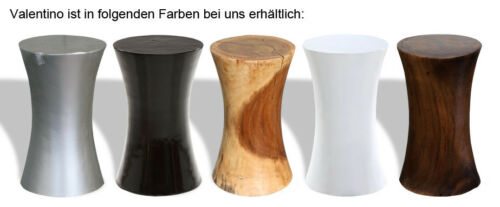 KMH® Hocker Sitzhocker Schemel Blumenhocker Holzhocker Holz rund silberfarben