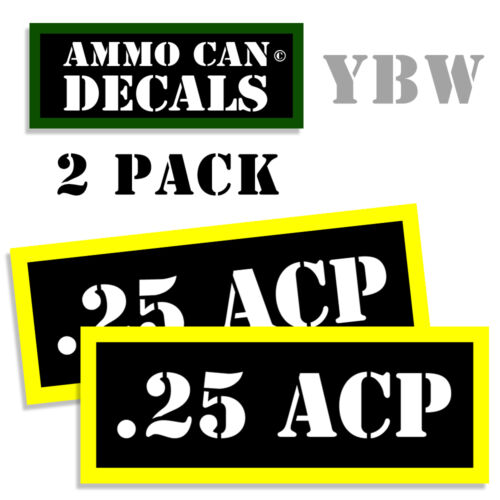 25 ACP Ammo Label Decals Box Stickers decals - 2 Pack BLYW