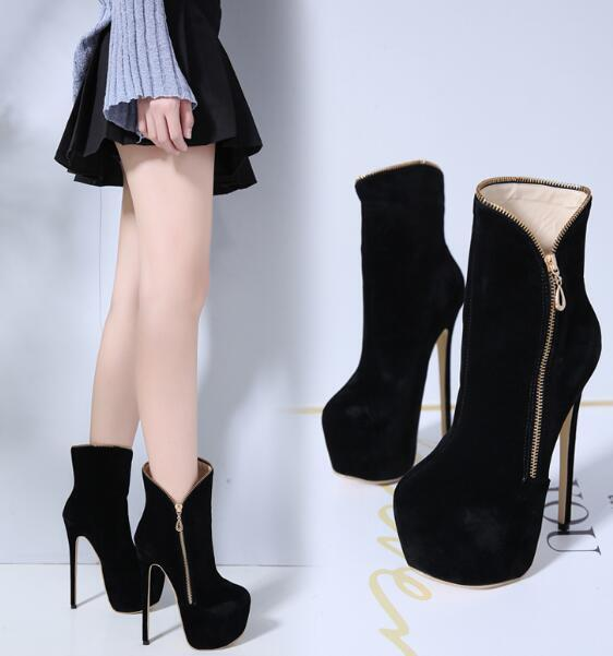 Womens Sexy Suede Round Toe High Slim Heels Ankle Riding Boots Stilettos 2019 YH