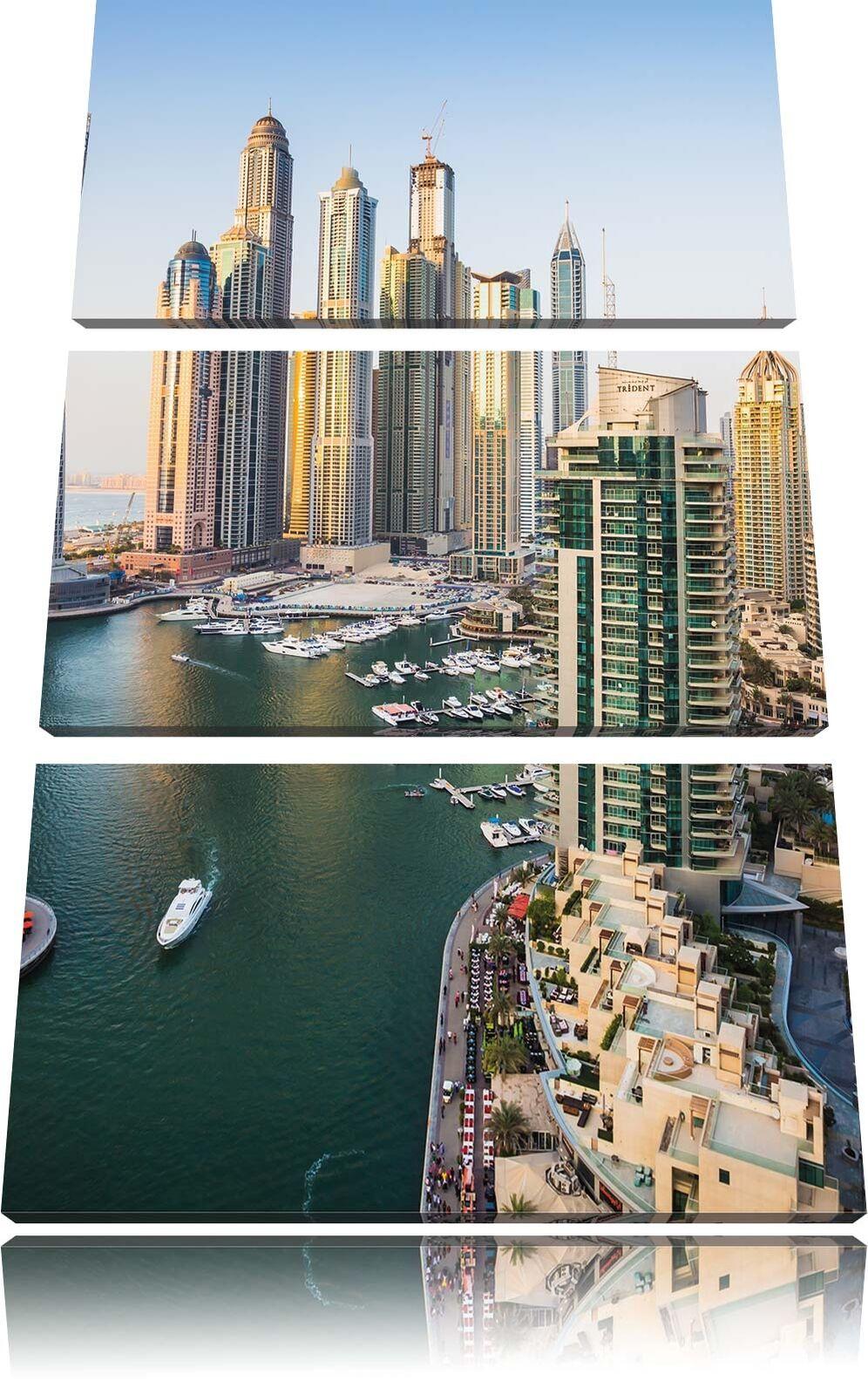 Dubai Metropole 3-Teiler Quadro su Tel Decorazione Parete Stampa Artistica