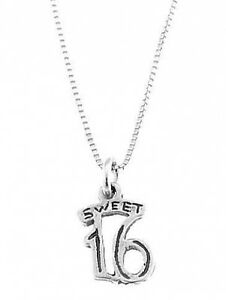 STERLING-SILVER-SWEET-16-CHARM-WITH-BOX-CHAIN-NECKLACE