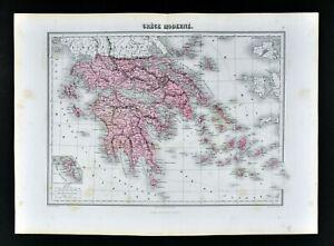 Details About 1877 Chartier Map Greece Athens Cyclades Paros Aegean Sea Naxos Paros Santorini