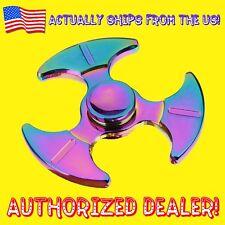 Fidget Finger Spinner Rainbow Tri Blade Hook Toy Special EDC ADHD Metal - NIB