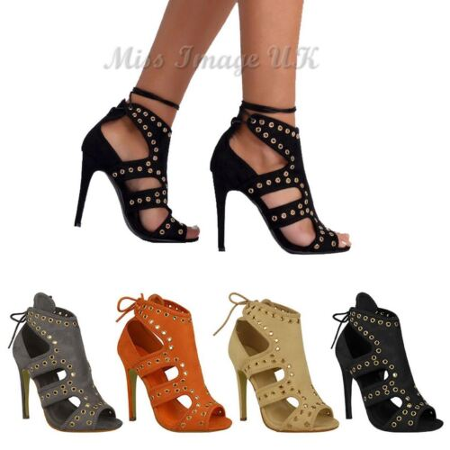 WOMENS LADIES PARTY SANDALS CUT OUT LACE UP HIGH STILETTO HEEL CELEB SHOES SIZE