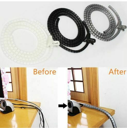 2 x 2M GREY Cable Tidy Wire Organizing Kit Spiral Wrap FOR PC TV HOME OFFICE