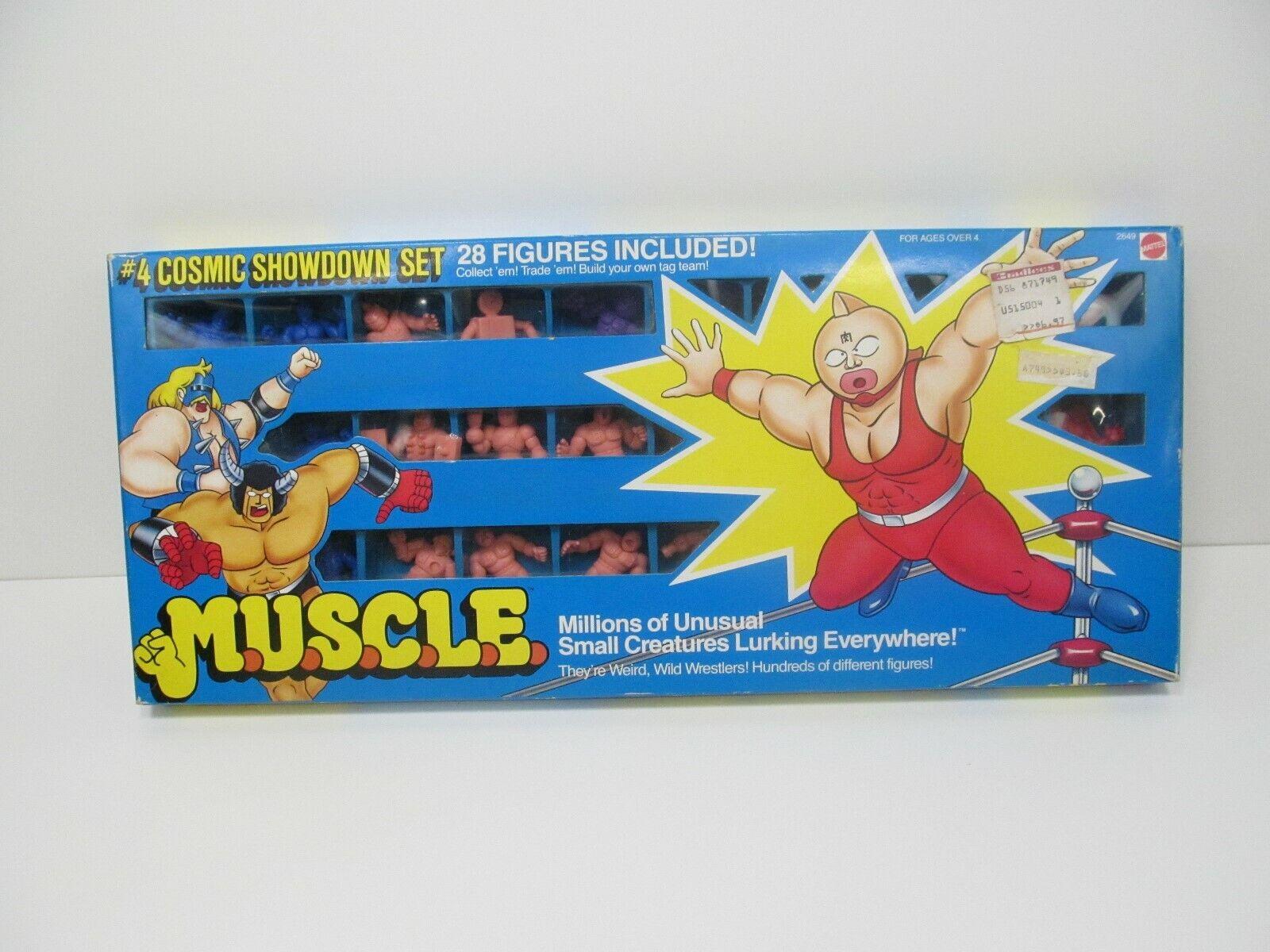 VINTAGE 1980s giocattolo M.U.S.C.L.E. 28 cifra lotto di  4 Uomini Muscolo Cosmic mostraredown