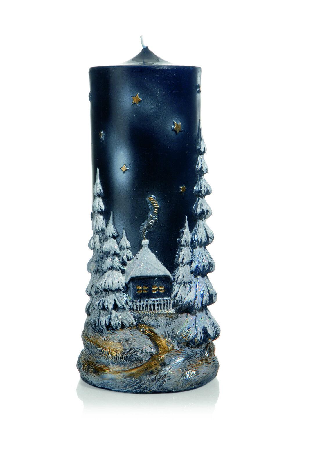 Weihnachtskerze 35x15cm Blau Relief  Stille Nacht Nacht Nacht  Handarbeit Kerzen Wiedemann | Die Farbe ist sehr auffällig  2b782a