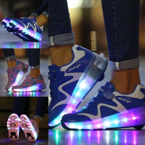 UK Kids LED Boys Girls Wheels Shoes Skates Heelys Roller Skate funny Shoes
