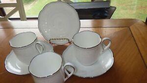"NORITAKE Hermitage cups and saucer set Fine Bone China 3 sets 3 1/8"" tall EUC"