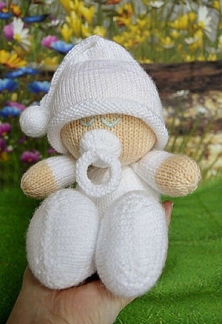 Easy Knit Baby Doll Toy Knitting Pattern Instructions To Make
