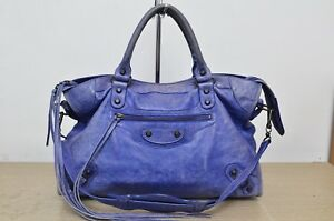 Balenciaga-Classic-City-Blue-China-2010-S-S-2Way-Motorcycle-Bag-Used-Authentic