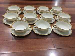 Lenox-Porcelain-Set-of-11-S8-White-amp-Gold-Encrusted-Bouillon-Soup-Cups-amp-Saucers