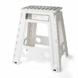 Wondrous Details About Acko White 18 Inches Non Slip Folding Step Stool For Kids And Adults With Handle Creativecarmelina Interior Chair Design Creativecarmelinacom