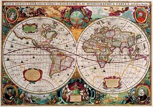 1630 world map antique vintage reproduction old style poster print image is loading 1630 world map antique vintage reproduction old style gumiabroncs Choice Image