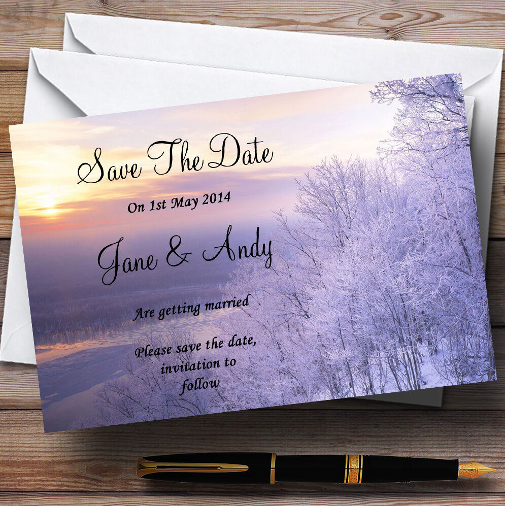 Winter Scene Beautiful Personalised Wedding Save The Date Cards