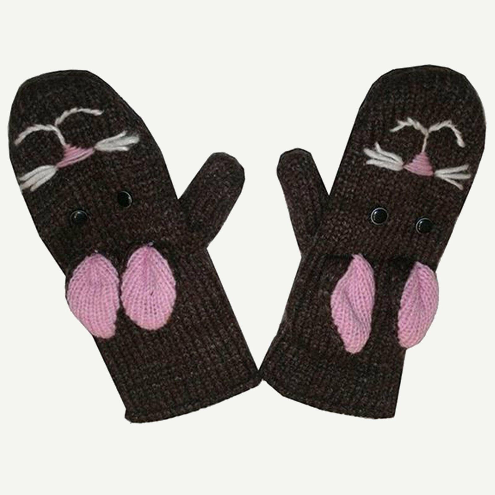 Assorted Highland Soft Wool Fleece Lined Outdoor Animal Mitten Glove
