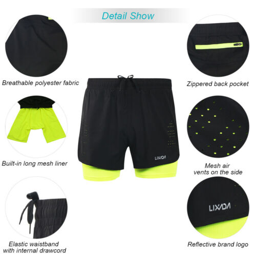 Lixada Men/'s 2-in-1 Running Shorts Quick Drying Breathable Active Training F9X2