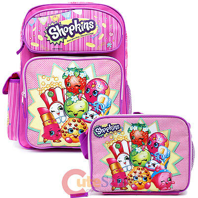 "Shopkins Large School Backpack 16/"" Girls Book Bag with Lunch Bag 2pc Set Pink"