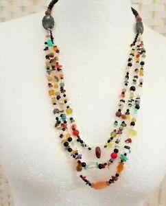 Vintage-Retro-Native-American-Inspired-3-Strand-Glass-Stone-Statement-Necklace