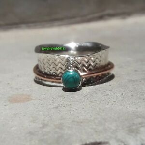 Turquoise-Solid-925-Sterling-Silver-Spinner-Ring-Meditation-Statement-Ring-Sr713